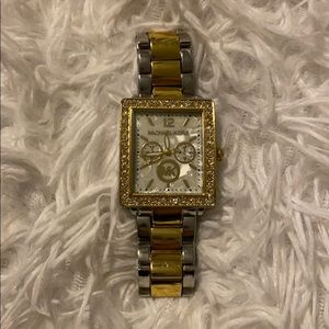 MICHAEL KORS gold & silver watch with gemstones